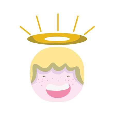 tender happy angel head with aureole design