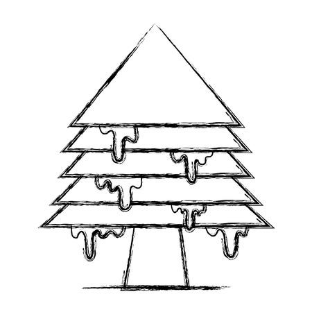 figure merry christmas pine tree with ice Illustration