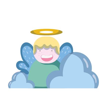 schattige engel met aureool en vleugels met wolken