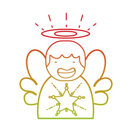 Lijn schattig engel met vleugels en aureool ontwerp vectorillustratie Stock Illustratie