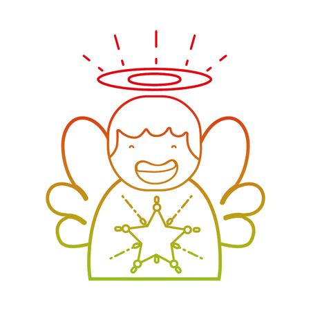 Line cute angel with wings and aureole design vector illustration
