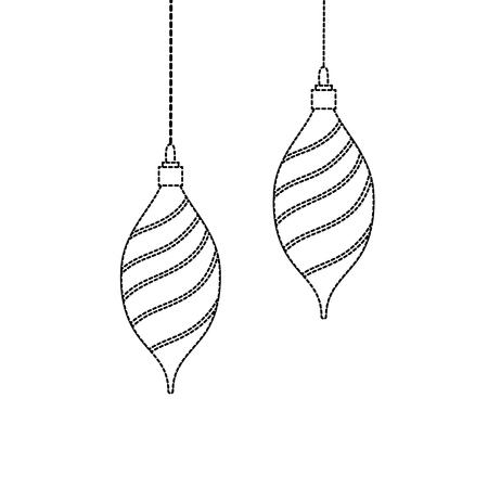 Dotted shape Merry Christmas ball decoration design vetor illustration