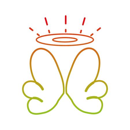 Lijn aardige aureool en vleugels van engel ontwerp vectorillustratie