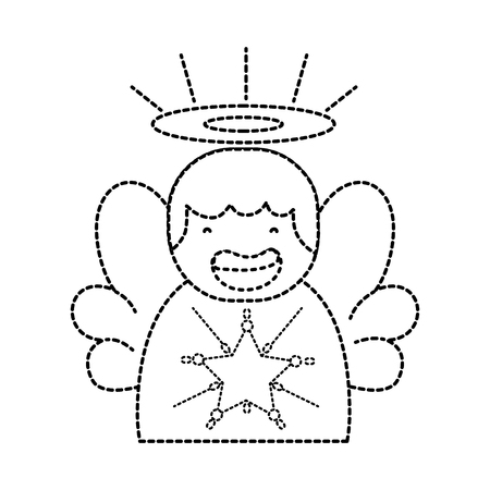 dotted shape cute angel with wings and aureole design vector illustration
