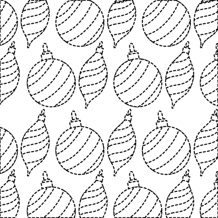 Dotted shape Merry Christmas ball decoration background design vetor illustration