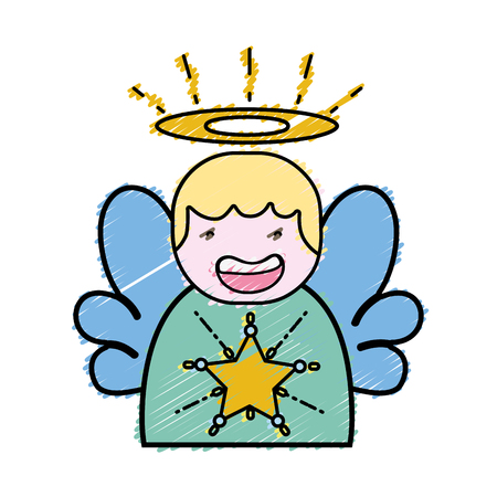 geraspte leuke engel met vleugels en aureool ontwerp vectorillustratie