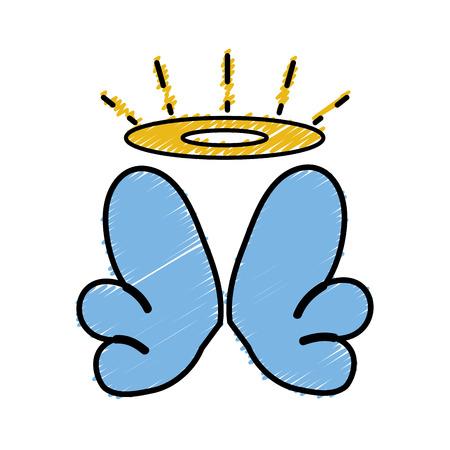 Bella aureola grattugiata e ali di angelo design Archivio Fotografico - 90008788