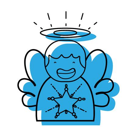 schattige engel met vleugels en aureool ontwerp vectorillustratie