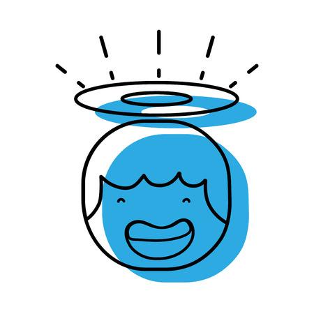 Testa di angelo felice tenero con progettazione aureola, illustrazione vettoriale. Archivio Fotografico - 89969712