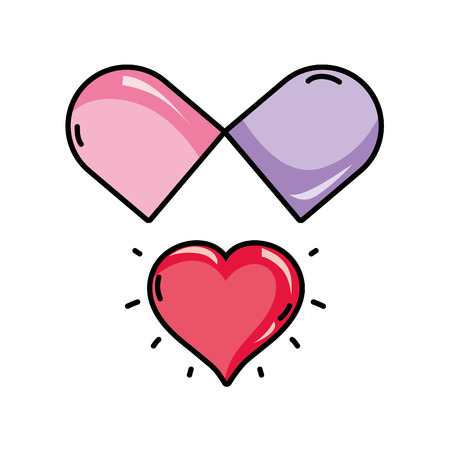 vecor: medical pill to love treatment drug vecor illustration Illustration