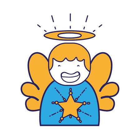 cute angel with wings and aureole design vector illustration Ilustração