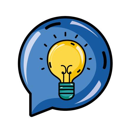 bulb idea inside chat bubble message vector illustration Illustration