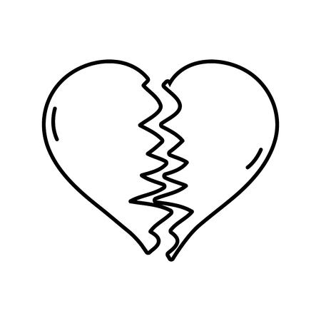 line heart love symbol broken design