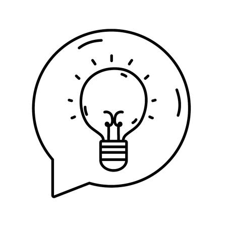 line bulb idea inside chat bubble message