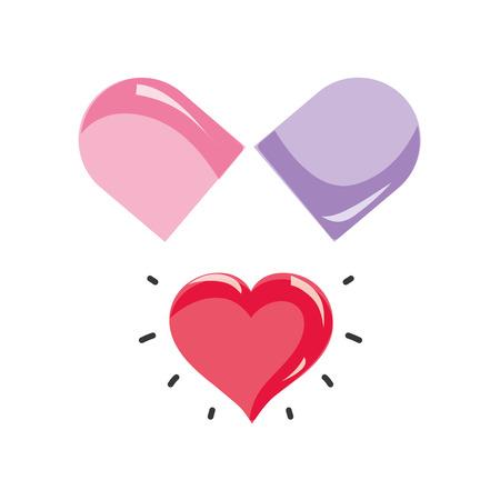 granule: medical pill to love treatment drug vecor illustration Illustration
