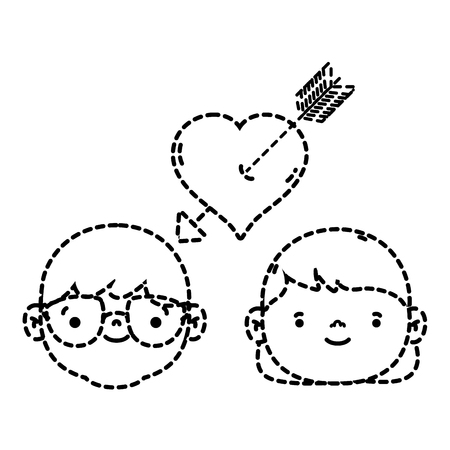 Dotted shape couple head together with heart symbol.