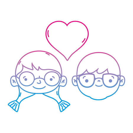 Line couple head together with heart love symbol, vector illustration. Illustration