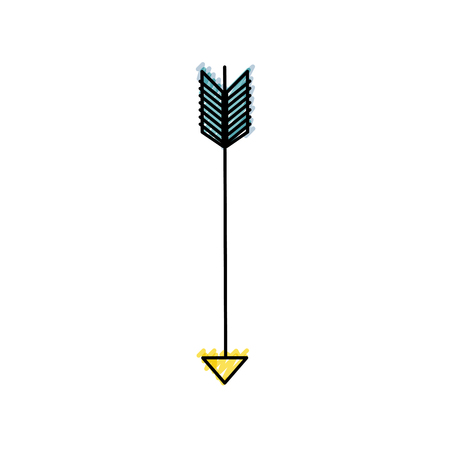 Grated arrow element with pointer style design vector illustration