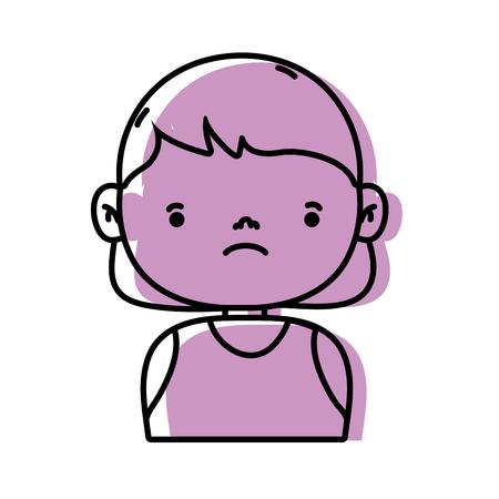 Sad avatar of a girl wearing an undershirt vector illustration Illustration