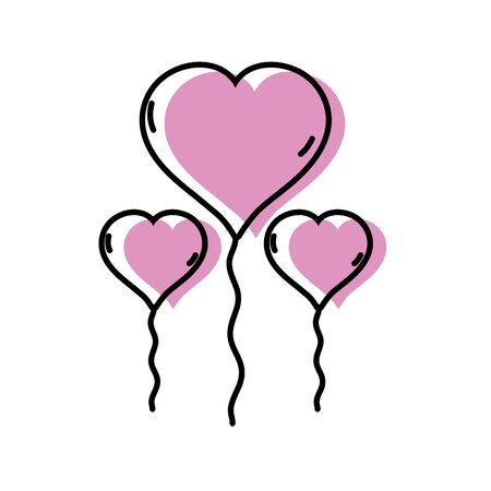event party: Balloons to shape heart design decoration vector illustration