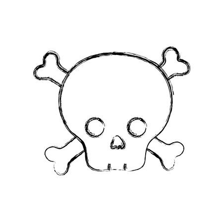 figure dancer skull caution alert message vector illustration