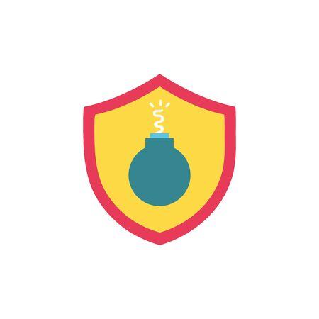dangerous bomb inside security shield object vector illustration Illustration