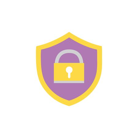 Shield protection with padlock symbol security vector illustration