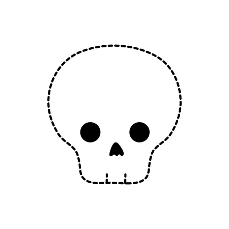 dotted shape danger skull to warning message caution