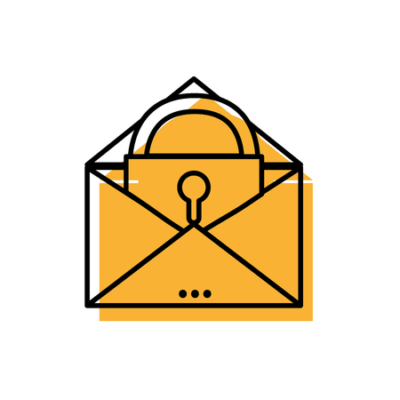 E-mail mesage with padlock insite to security information vector illustration