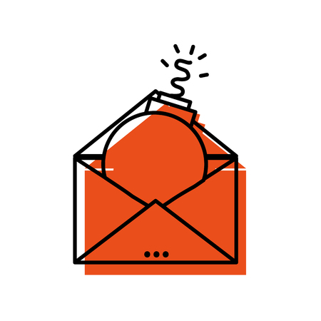 E-mail message information with bomb virus inside vector illustration Illustration