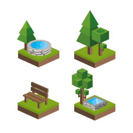 millimeters: Isometric icon set design