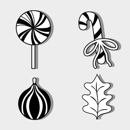 set merry christmas decoration desing to celebration vector illustration