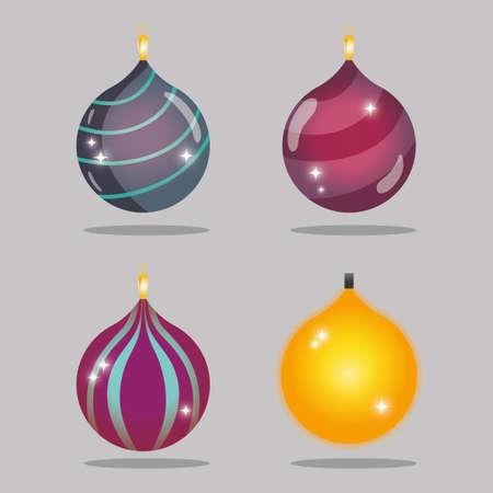 set merry christmas decoration desing to celebration Illustration