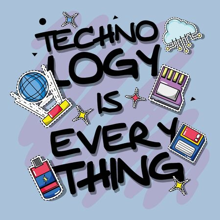 set technology patches data information vector illustration