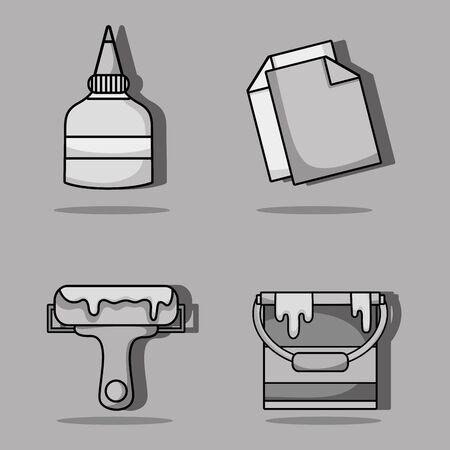 set art and craft creative objects Illustration
