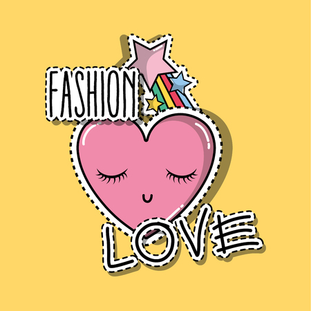 heart with eyes and star raibow fashion patches
