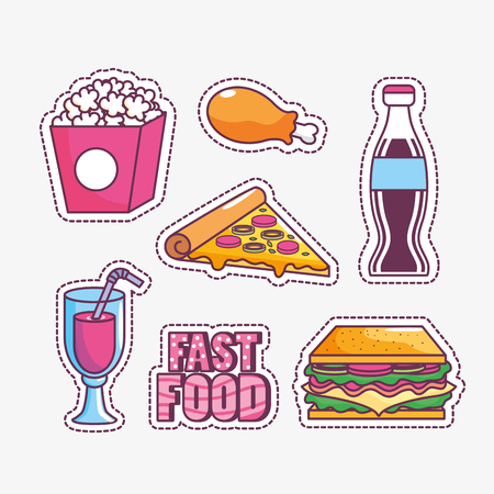 Icon set of tasty and fast food theme Vector illustration Vettoriali