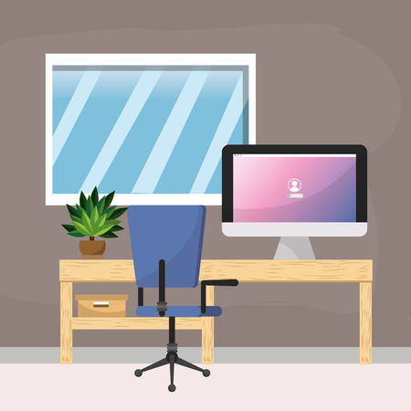 Workplace and office design Illustration