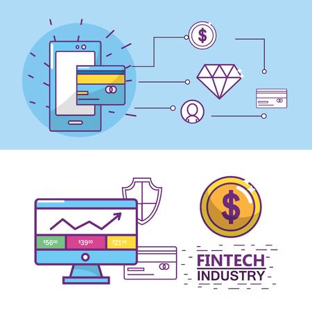 Fintech industry design Фото со стока - 90140401