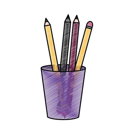 Pencils inside mug of tool write and office theme Isolated design Vector illustration
