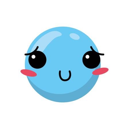 Blue cartoon face emoticon caricature and character theme Isolated design Vector illustration Illustration