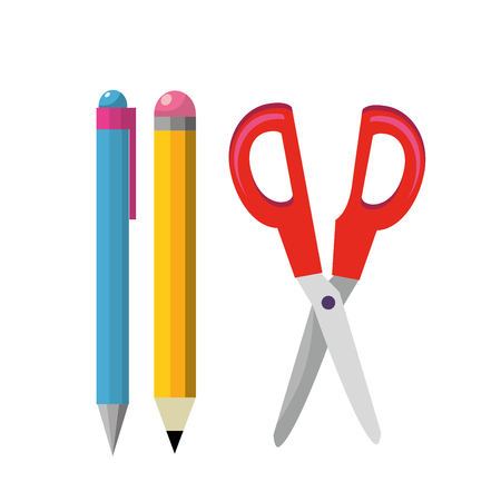 Pen pencil and scissor of tool write and office theme Isolated design Vector illustration Illustration