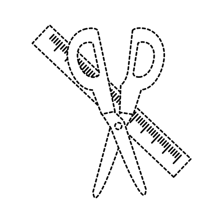 Scissor and ruler of tool instrument and cut theme Isolated design Vector illustration