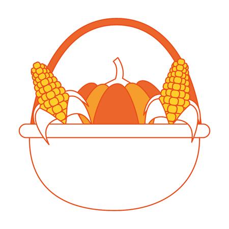 Pumpkin and corns of autumn vegetable and season theme Isolated design Vector illustration