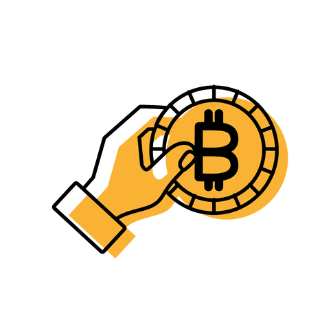 Bitcoin of money bank and market theme Isolated design Vector illustration