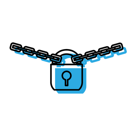 Padlock of security system and warning theme Isolated design Vector illustration