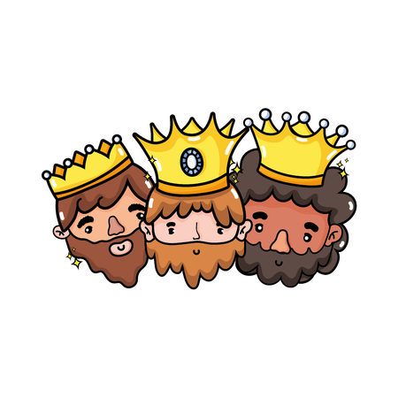 The three wise men of merry christmas and nativity scene theme Isolated design Vector illustration Illustration