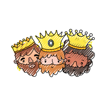 The three wise men of merry christmas and nativity scene theme Isolated design Vector illustration Vettoriali