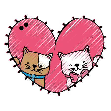 Cartoon cat of animal pet and kitten theme Isolated design Vector illustration