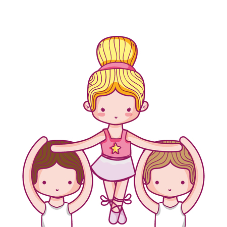 Dancing girl and boys of ballet sport and health theme Isolated design Vector illustration Illustration